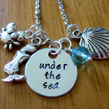 "Disney's ""Little Mermaid"" Inspired Necklace. Under The Sea. Charm Pendant, Silver colored, Swarovski crystal, for women or girls"