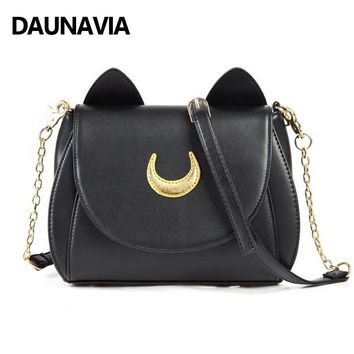 DAUNAVIA Women Handbags Small Cross Body Bags Sailor Moon Bags Girls Cute Sling Bags For Women Cat Shape Chain Shoulder Bags