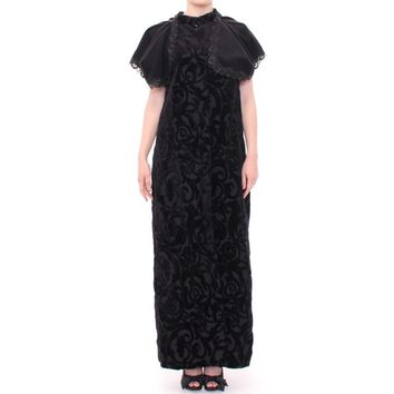 NOEMI ALEM̤N Black Cotton Brocade Long Cape Coat Jacket