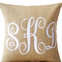 Wedding Pillows -Burlap Monogram Pillows - Custom Monogram Pillow- Three Letters Monogram Pillows- Initial Cushion- Engagement Pillows-12x12