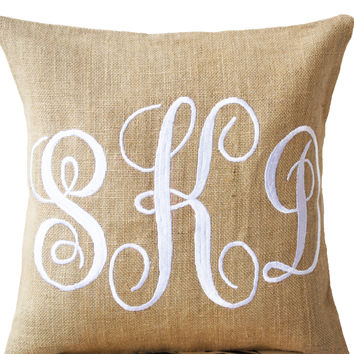 Burlap Monogram covers - Custom Monogram Pillow- Cursive Font Three Letters Monogram Pillows- Initial Cushion- Baby- Wedding Pillow-18x18