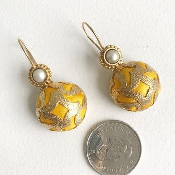Handcrafted Earrings - Yellow Satin & Pearl