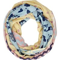 yellow and blue print snood scarf