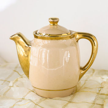 Vintage Mayer China Mayan Ware Teapot Restaurant Ware Beige and Gold