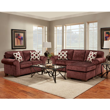 Exceptional Designs Living Room Set in Prism Elderberry Microfiber