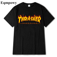 Eqmpowy 2017 thrasher T Shirt Men Women Skateboards tee Short Sleeve Skate T shirts Tops Hip Hop T shirt Homme Man Trasher