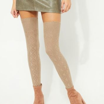 Brown Diamond-Textured Thigh High Socks
