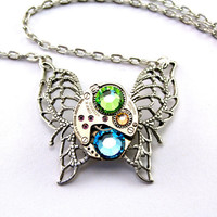 Steampunk Necklace Green Crystal Butterfly by LondonParticulars
