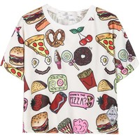 Sheinside Women's White Short Sleeve Fast Food Print T-shirt