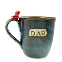Huge DAD Ceramic Mug with Bird / Handmade Pottery by PatsPottery