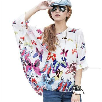 DCCKON3 New 2018 Women Blouse Shirt Butterfly Printing Chiffon Tops Batwing Sleeve Boho Style Summer Blouses Plus Size 4XL 5XL 6XL Blusa