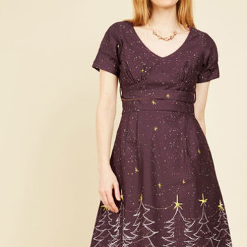 Frolicsome Foliage A-Line Dress in Holiday Cheer | Mod Retro Vintage Dresses | ModCloth.com