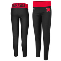Nebraska Cornhuskers Ladies Pivot II Yoga Leggings - Black/Scarlet