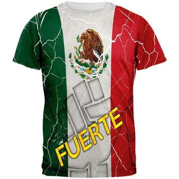 PEAPGQ9 Cinco De Mayo Mexico Fuerte Strong Mexican Flag All Over Mens T Shirt