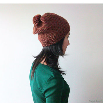 Hand Knitted Hat in Chocolate Brown - Beanie with Pom Pom - Slouch Seamless Hat - Winter Hat - Wool Blend