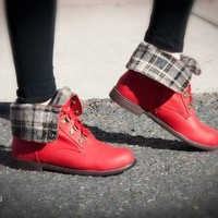 Blossom Cana-16 Round Toe Lace Up Fold over Cuff Ankle Boot (Red) - Shoes 4 U Las Vegas