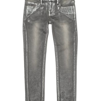 True Religion Casey Super Skinny Metallic Girls Pant - Bowery Grey