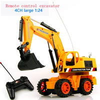 4Ch 1:24 Remote Control Truck Excavator Electric Bulldozer Kids Toy Gifts