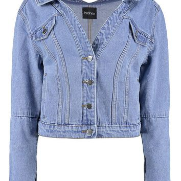 Aisha Off The Shoulder Denim Jacket | Boohoo
