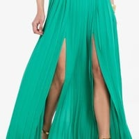 BCBGMAXAZRIA DILLON PLEATED PANELED MAXI SKIRT
