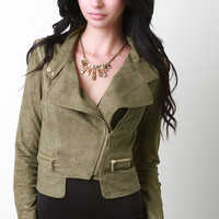 Zipper Moto Suede Jacket
