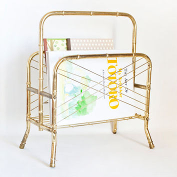 Vintage Bamboo Shape Magazine Rack, Steel Mid Century Record Vinyl Organizer Book Holder, Gold Tone Metal Rack