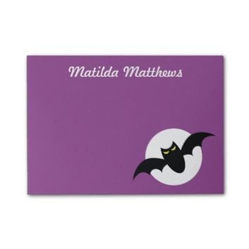Bat in front of full moon purple personalized post-it® notes