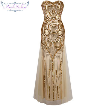 Angel-fashions Vintage 1920's Strapless Sequined Tulle Prom Dresses robe de mariee Gold Silver 186