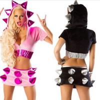 Female adulta Cruel mares Holloween Cosplay Costume mulheres Sexy Halloween Fancy Dress costume T shirt + dress suit