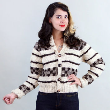 70s CHUNKY KNIT Cardigan | Vintage 1970s Cowichan-style Cropped Sweater | small