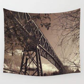 The mistery bridge. Retro Wall Tapestry by Guido Montañés