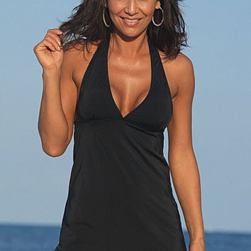 UjENA SLIMsational Swim Dress C272 Handmade Halter style  Ties at neck Removable padding Scoop front High Waisted coverage Swimsuit Womens Swimwear