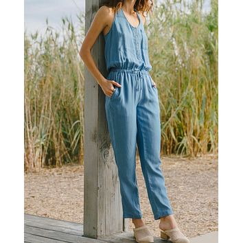 Everly - Soft Button Down Jumpsuit in Denim