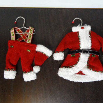 Vintage Handmade Christmas Santa Clause Outfit/Clothes Ornaments with Beaded Hanger to Hang on Tree - Old Fashioned Christmas