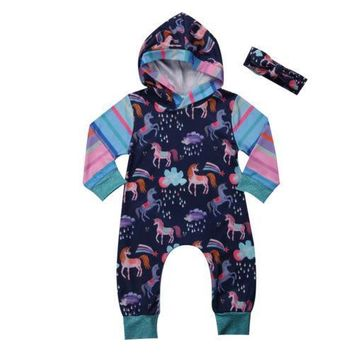 Unicorn Newborn Baby Girl Boy Clothes Long Sleeve Hoodies Jumpsuit Romper Playsuit Outfits B