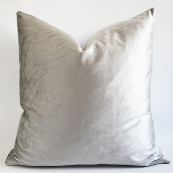 Sukan / Silver Cotton Velvet Pillow Cover Square Decorative Throw Pillows Invisible Zipper Closure Cushion Cover 24x24 Silver Throw Pillow