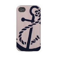 Mally Mac NAUTICAL Anchor stripe iphone 4 4s case Iphone 4 Tough Case