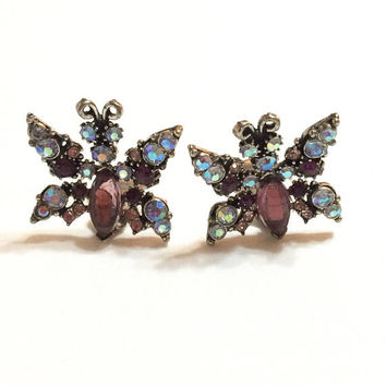 Florenza Butterfly Earrings, Amethyst & Blue Crystal Rhinestones, Aurora Borealis, 1950s, Insect Statement Vintage Jewelry