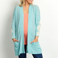 Mint-Green-Crochet-Sleeve-Pocket-Front-Cardigan