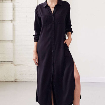 Silence + Noise Side-Slit Maxi Shirt Dress - Urban Outfitters