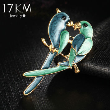 17KM New Fashion Jewelry 2 Bird Broochs Vintage Lovely Simples Animal Scarf Wedding Bouquet Hijab Pins Brooches For Women