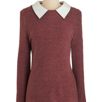 ModCloth Scholastic Mid-length Long Sleeve Wine Appreciation Sweater in Bordeaux