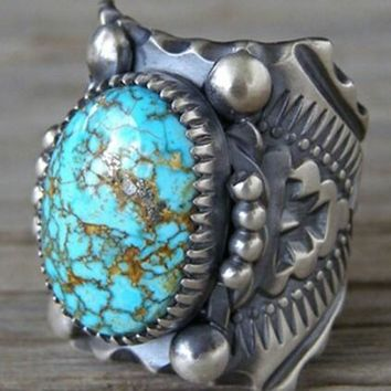 Antique Vintage Turquoise Tribal Gypsy Ring