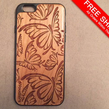 Wooden iPhone Cases - Butterly pattern - butterfly iphone case - iPhone 6 - 4/4s, 5/5s and iPhone 6 -engraved design - FREE SHIPPING