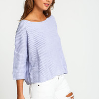 Lavender Chunky Knit Cropped Sweater