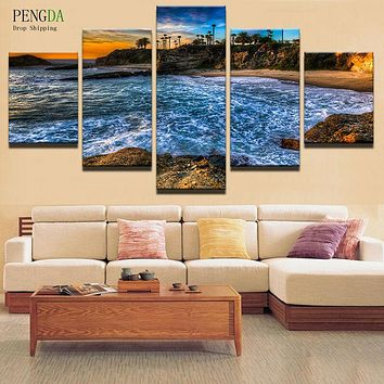 PENGDA Wall Pictures For Living Room Nordic Decor 5 Panel Frame Sea Landscape Wall Art Canvas Painting Cuadros Picture Poster