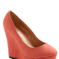 Cameo So Cute Wedge in Coral | Mod Retro Vintage Wedges | ModCloth.com