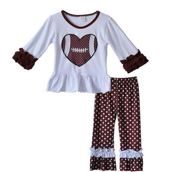 Boutique Outfit, Football Game Day Outfit.  White shirt with Football Applique and Brown and White Polka Dot Ruffle Pants, Fall, Girls Outfit, Toddler Outfit