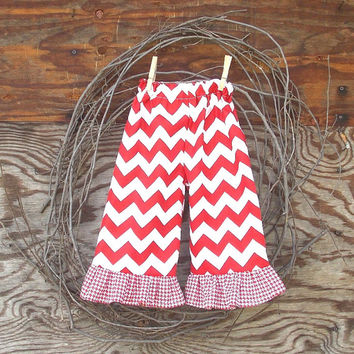Girls ruffled Chevron pants, size 6, 12, 18 months 2 ,3, 4  toddler, red chevron,  fall, thanksgiving, Holidays