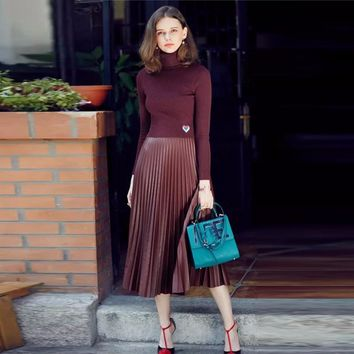 Chic 2017 Faux Leather Pleated Skirts Mid Calf Zipper Dark Wine Green Vintage Maix Skirt For Women Black 75 Cm Length Clothing